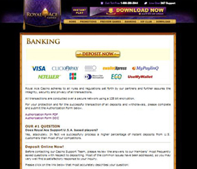 The banking options at Ace Revenue online casinos.