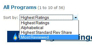Rate and Review CAP Listed Programs
